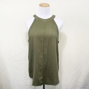 Anthro Cloth & Stone green halter tank top eyelets
